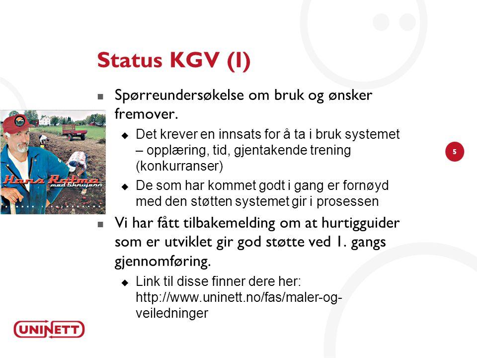 Status KGV (I) Spørreundersøkelse om bruk og ønsker fremover.