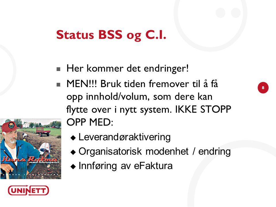 Status BSS og C.I. Her kommer det endringer!