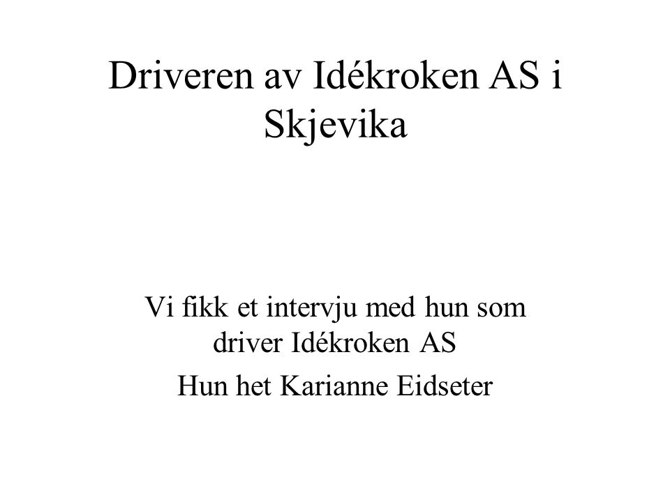 Driveren av Idékroken AS i Skjevika
