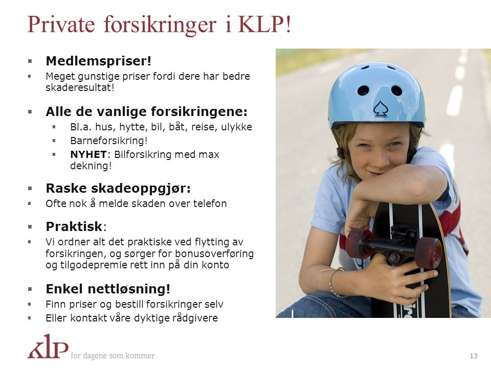 Private forsikringer i KLP!