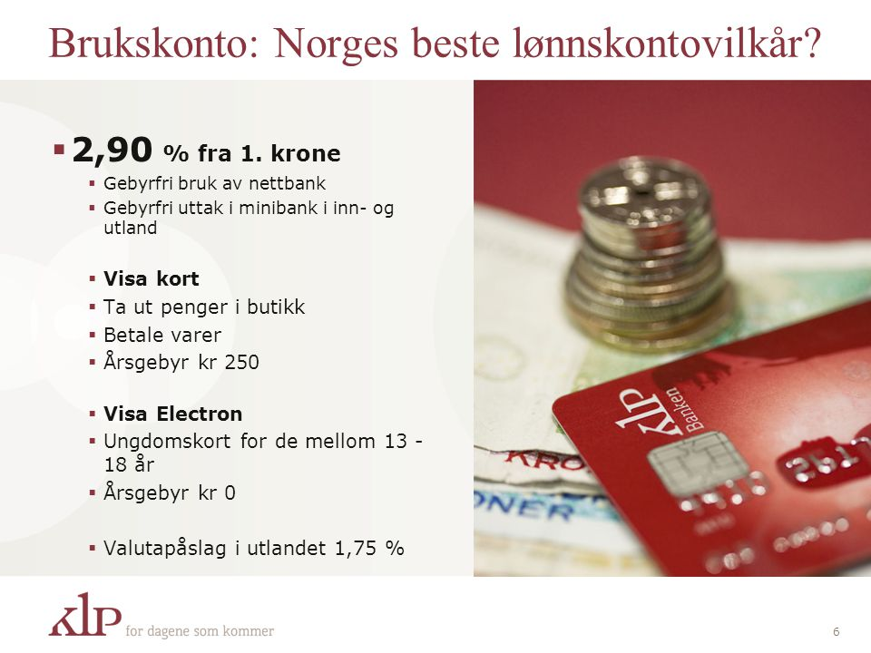 Brukskonto: Norges beste lønnskontovilkår