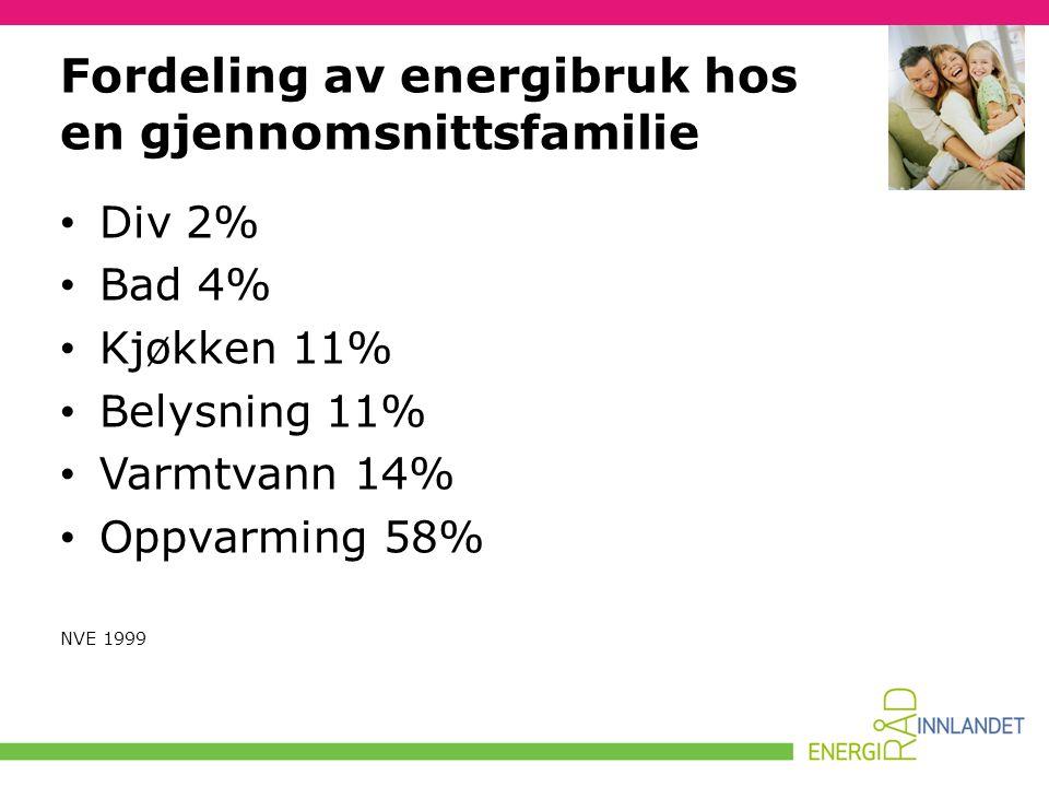 Fordeling av energibruk hos en gjennomsnittsfamilie