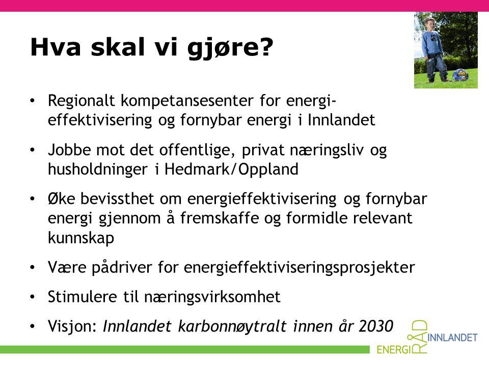 Hva skal vi gjøre Regionalt kompetansesenter for energi- effektivisering og fornybar energi i Innlandet.