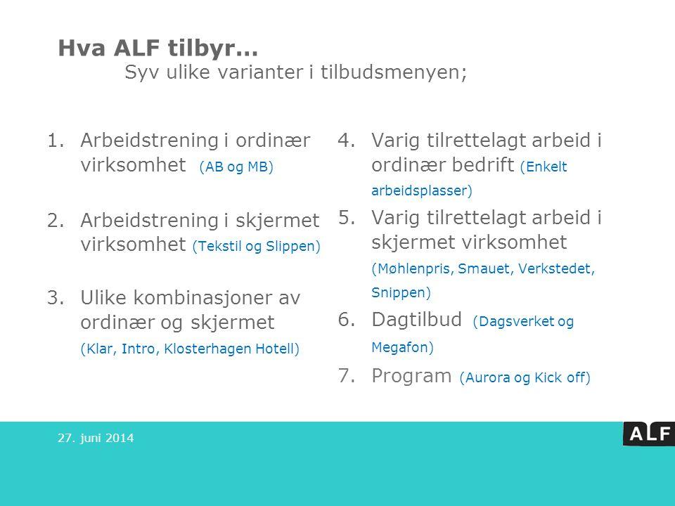 Hva ALF tilbyr… Syv ulike varianter i tilbudsmenyen;