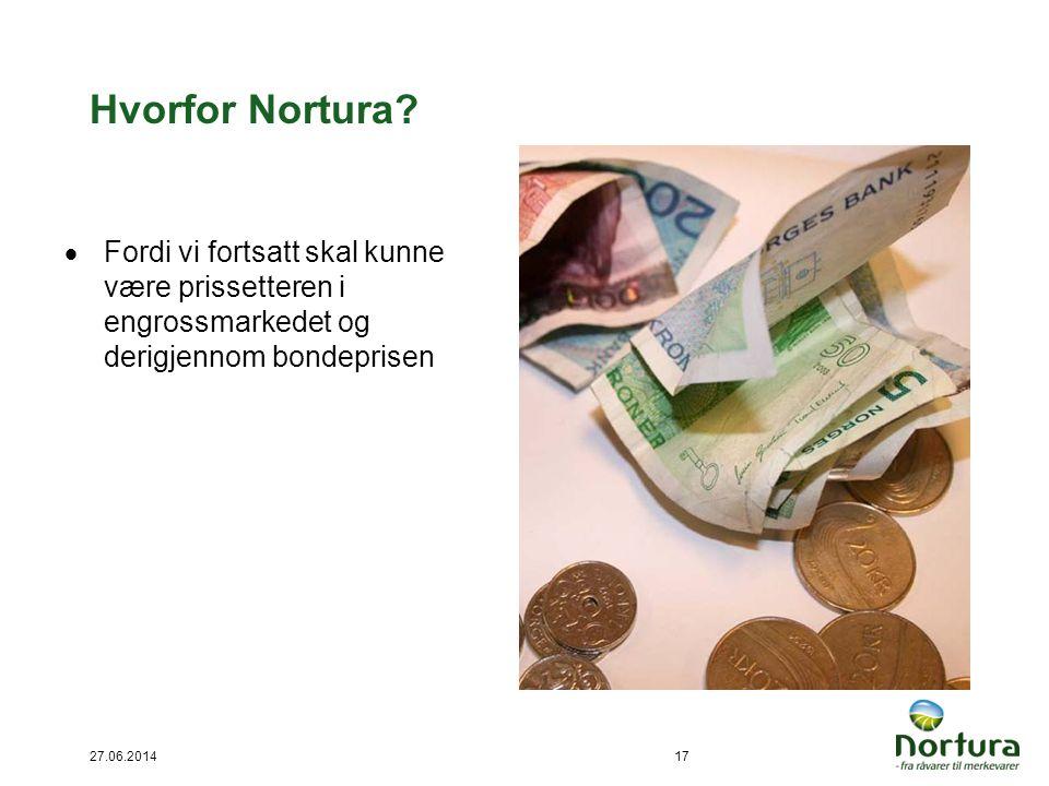 Hvorfor Nortura Fordi vi fortsatt skal kunne være prissetteren i engrossmarkedet og derigjennom bondeprisen.