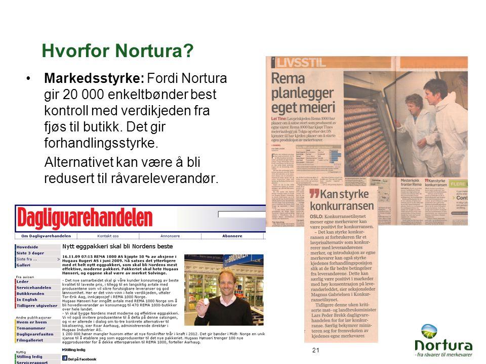 Hvorfor Nortura Markedsstyrke: Fordi Nortura gir 20 000 enkeltbønder best kontroll med verdikjeden fra fjøs til butikk. Det gir forhandlingsstyrke.