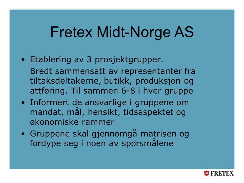 Fretex Midt-Norge AS Etablering av 3 prosjektgrupper.