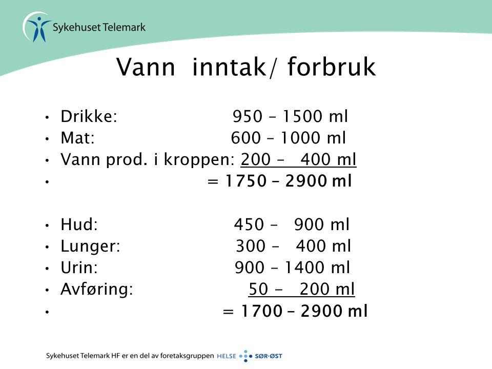 Vann inntak/ forbruk Drikke: 950 – 1500 ml Mat: 600 – 1000 ml