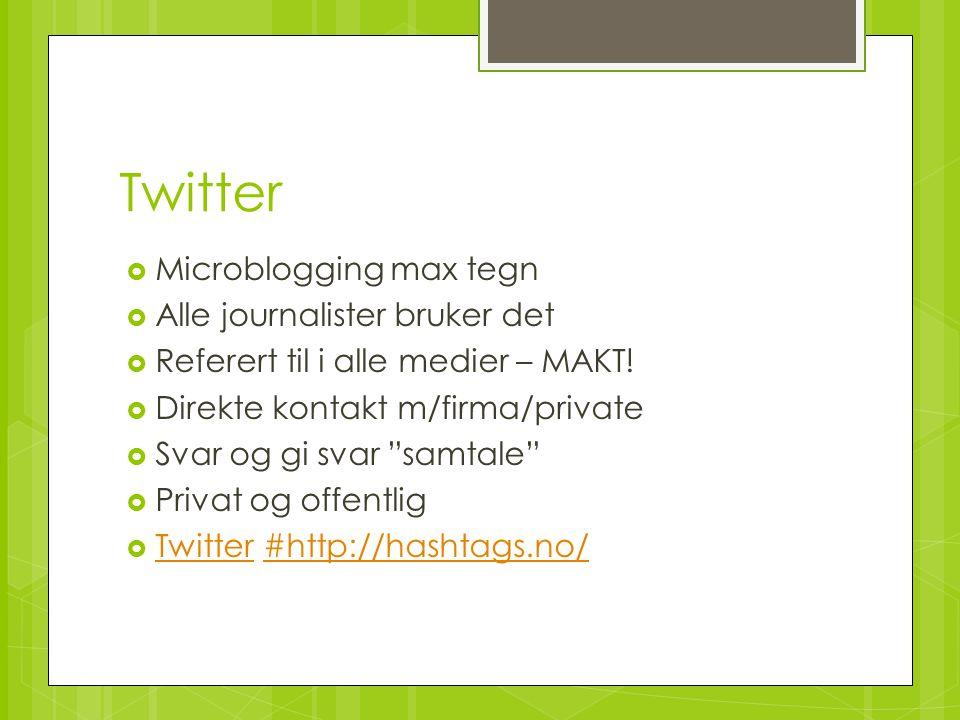Twitter Microblogging max tegn Alle journalister bruker det