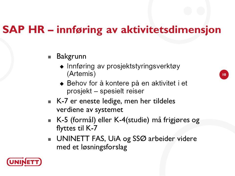 SAP HR – innføring av aktivitetsdimensjon