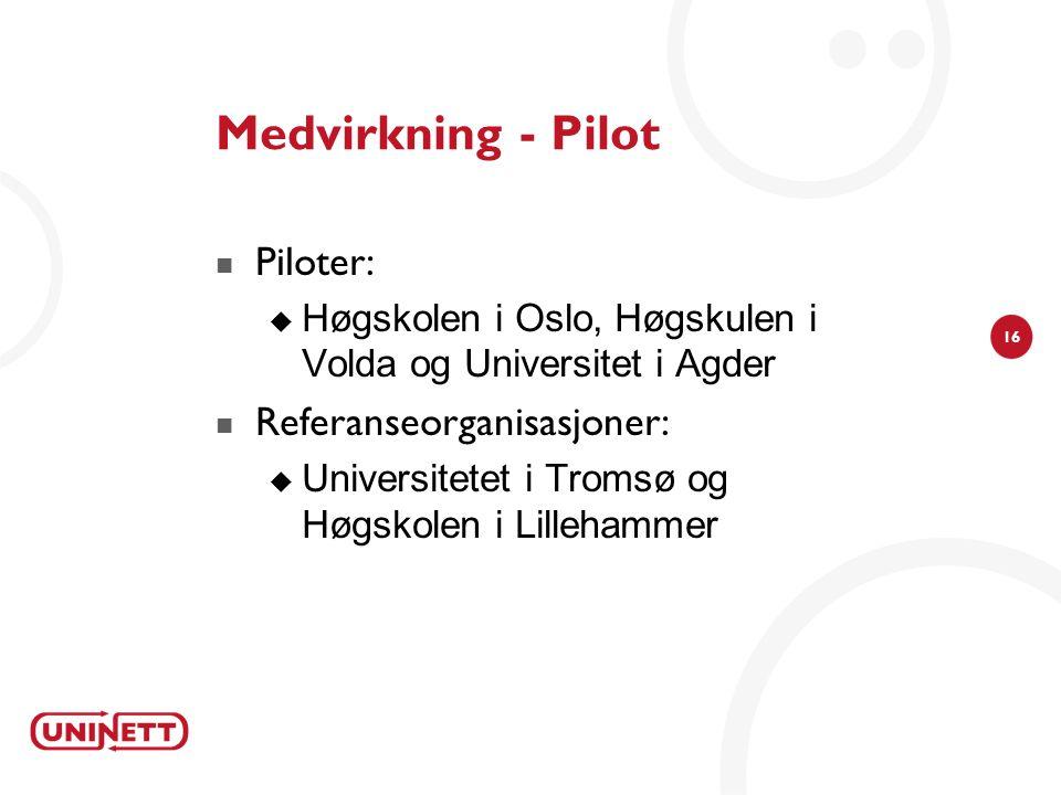 Medvirkning - Pilot Piloter: Referanseorganisasjoner: