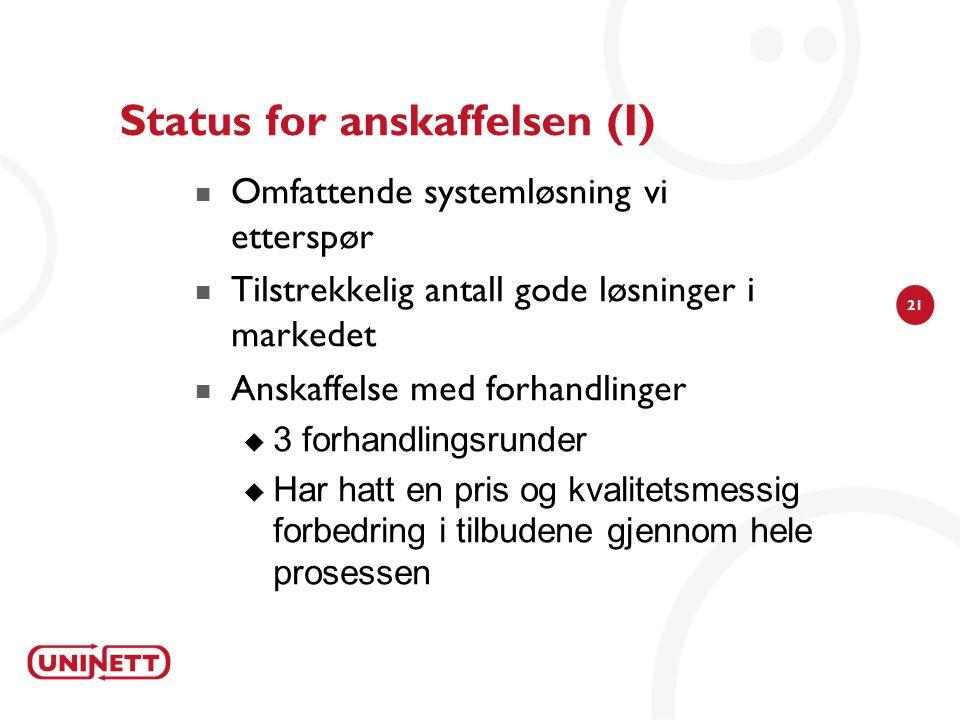 Status for anskaffelsen (I)