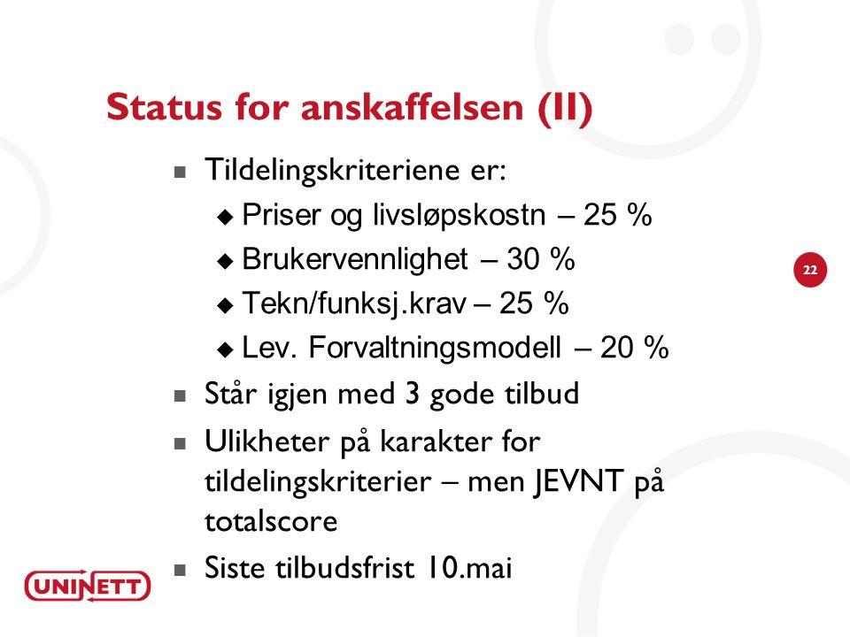Status for anskaffelsen (II)