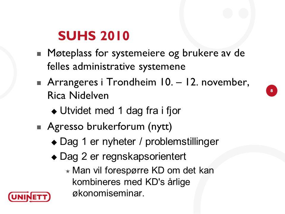 SUHS 2010 Møteplass for systemeiere og brukere av de felles administrative systemene. Arrangeres i Trondheim 10. – 12. november, Rica Nidelven.