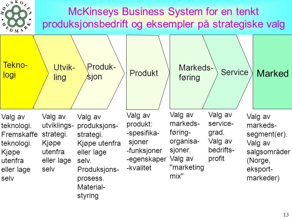 McKinseys Business System for en tenkt produksjonsbedrift og eksempler på strategiske valg