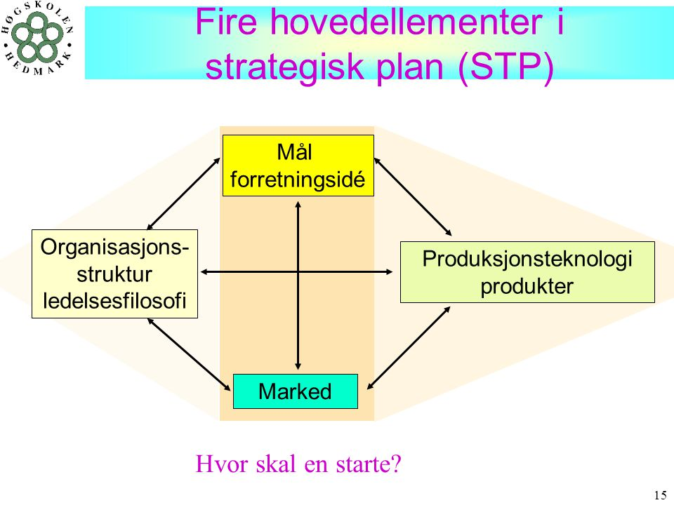 Fire hovedellementer i strategisk plan (STP)