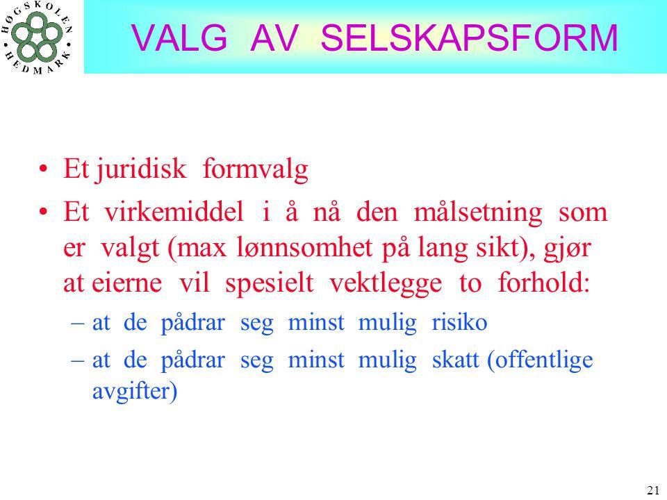 VALG AV SELSKAPSFORM Et juridisk formvalg