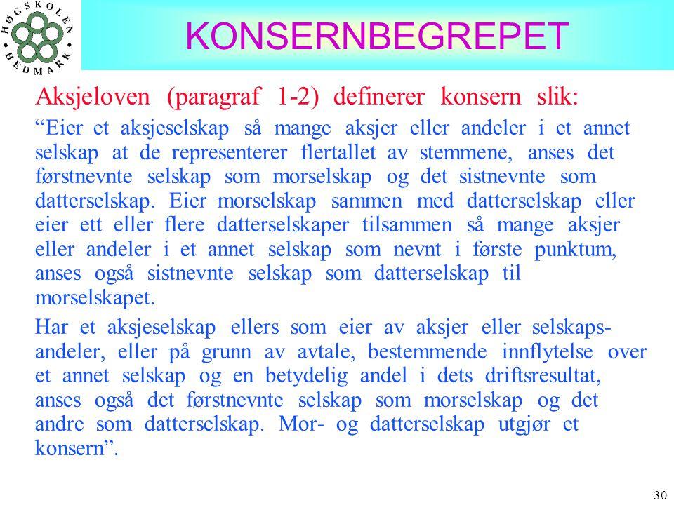 KONSERNBEGREPET Aksjeloven (paragraf 1-2) definerer konsern slik: