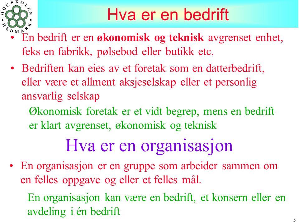 Hva er en organisasjon Hva er en bedrift