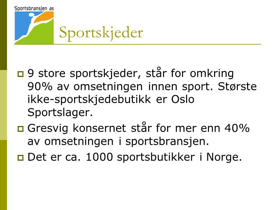 Sportskjeder 9 store sportskjeder, står for omkring 90% av omsetningen innen sport. Største ikke-sportskjedebutikk er Oslo Sportslager.