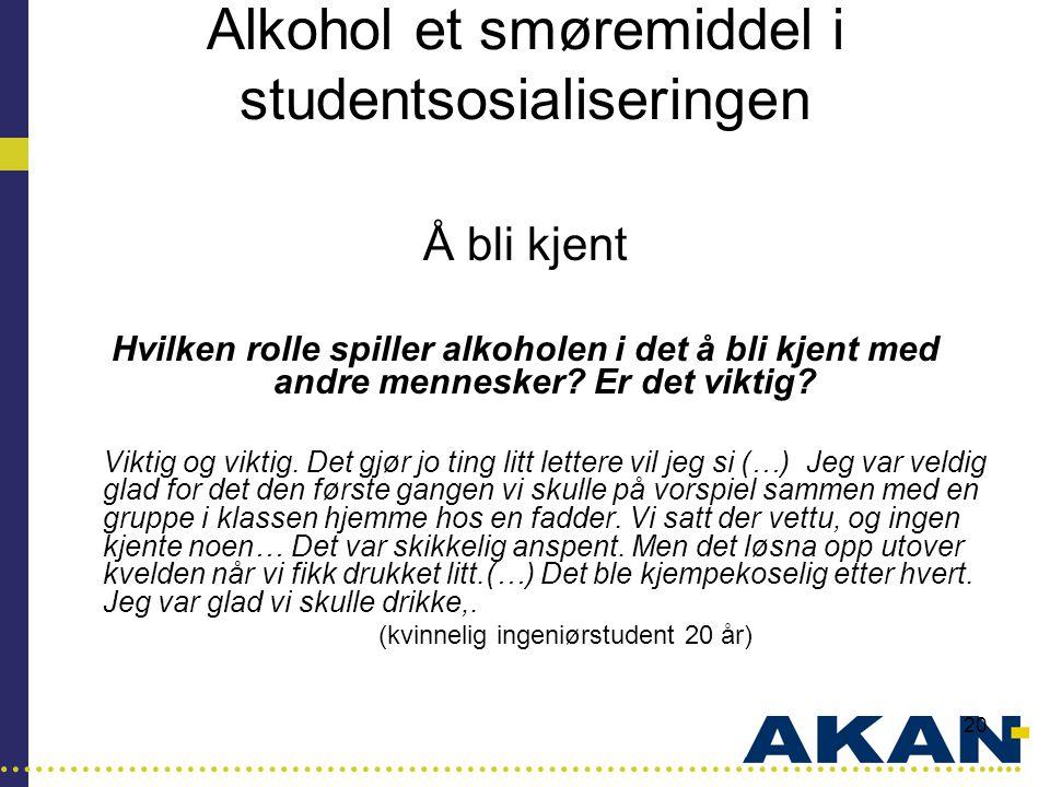 Alkohol et smøremiddel i studentsosialiseringen