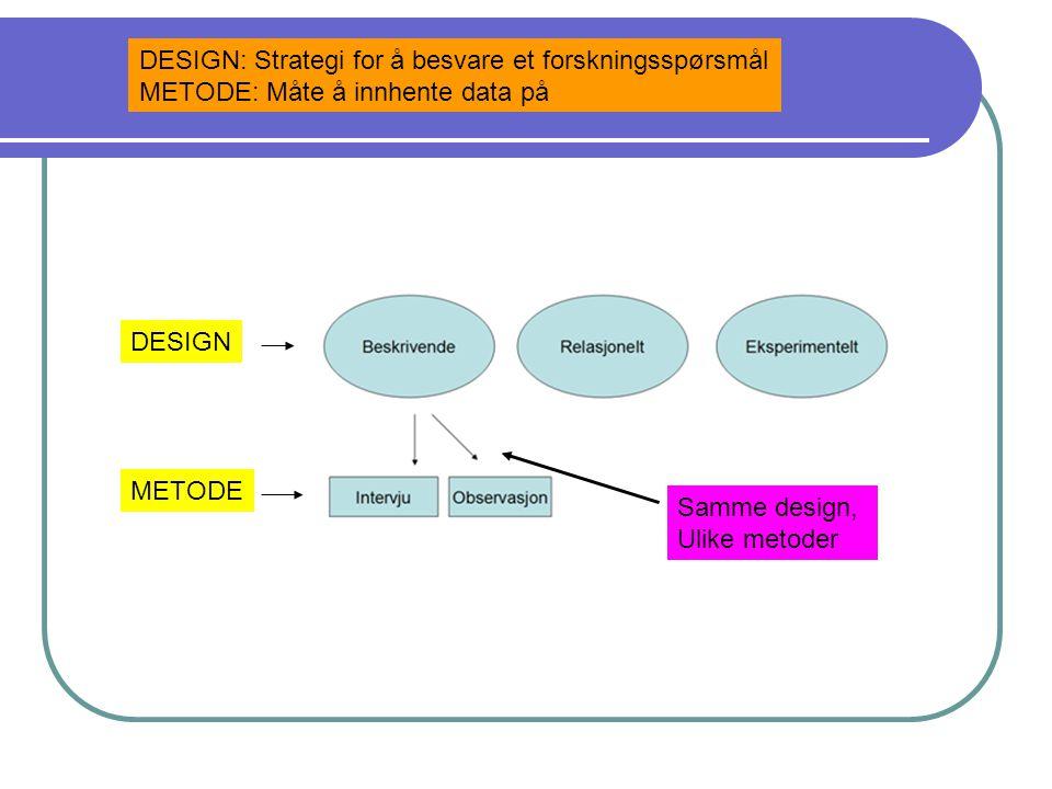 DESIGN: Strategi for å besvare et forskningsspørsmål