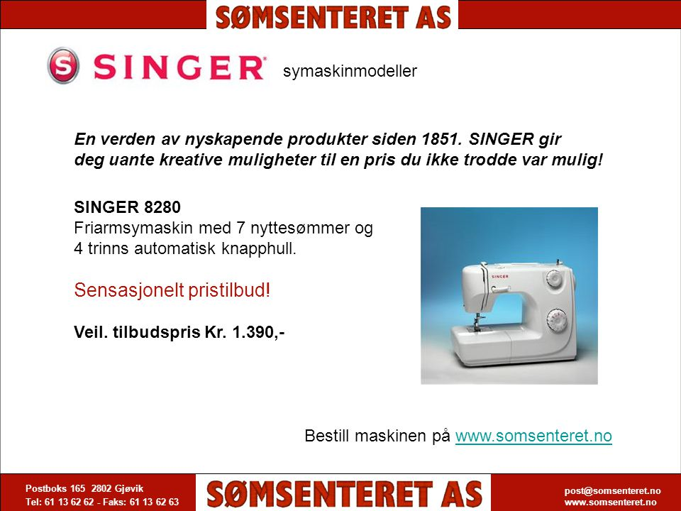 SINGER 8280 Friarmsymaskin med 7 nyttesømmer og