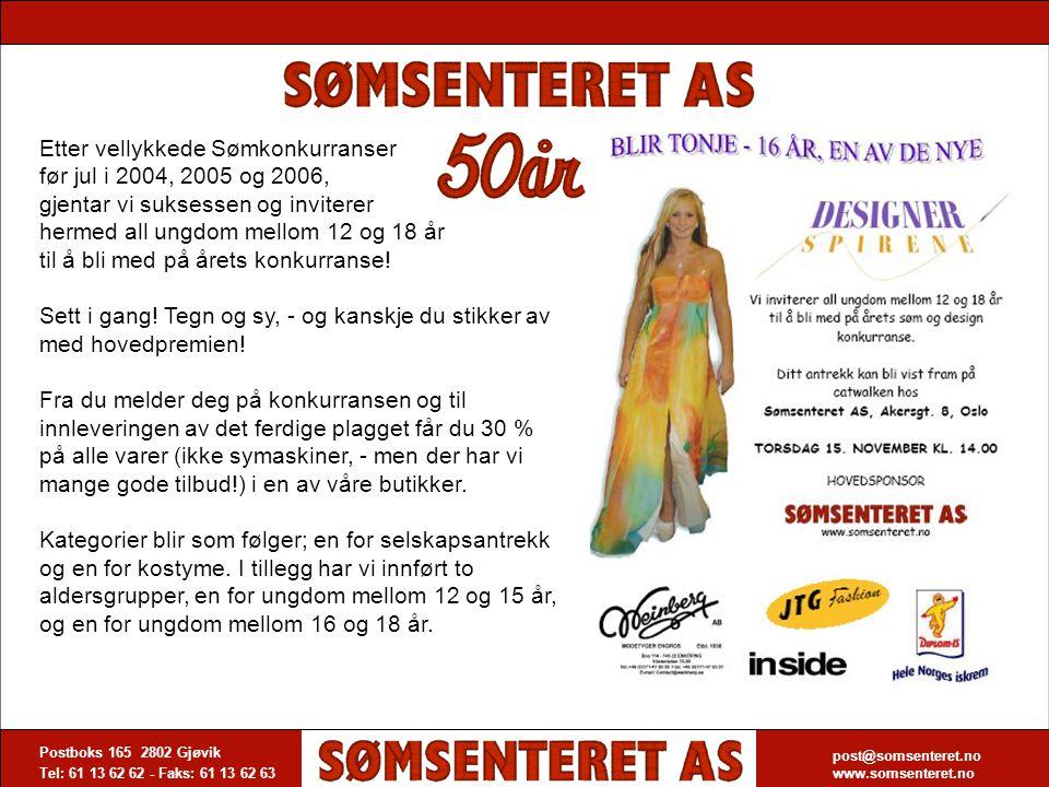 Etter vellykkede Sømkonkurranser før jul i 2004, 2005 og 2006, gjentar vi suksessen og inviterer hermed all ungdom mellom 12 og 18 år til å bli med på årets konkurranse!
