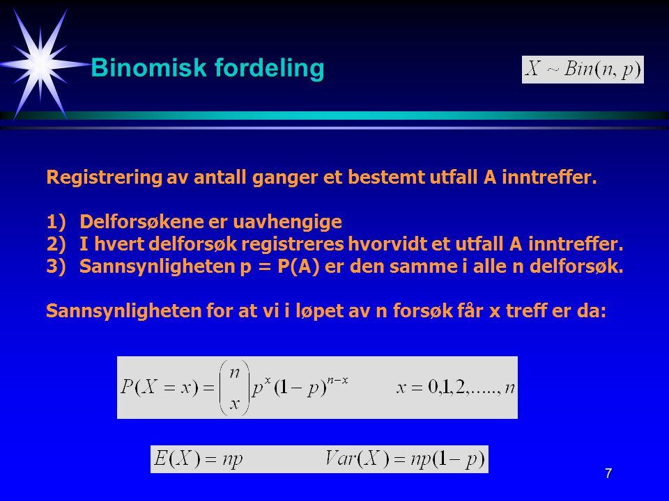 Binomisk fordeling Registrering av antall ganger et bestemt utfall A inntreffer. 1) Delforsøkene er uavhengige.