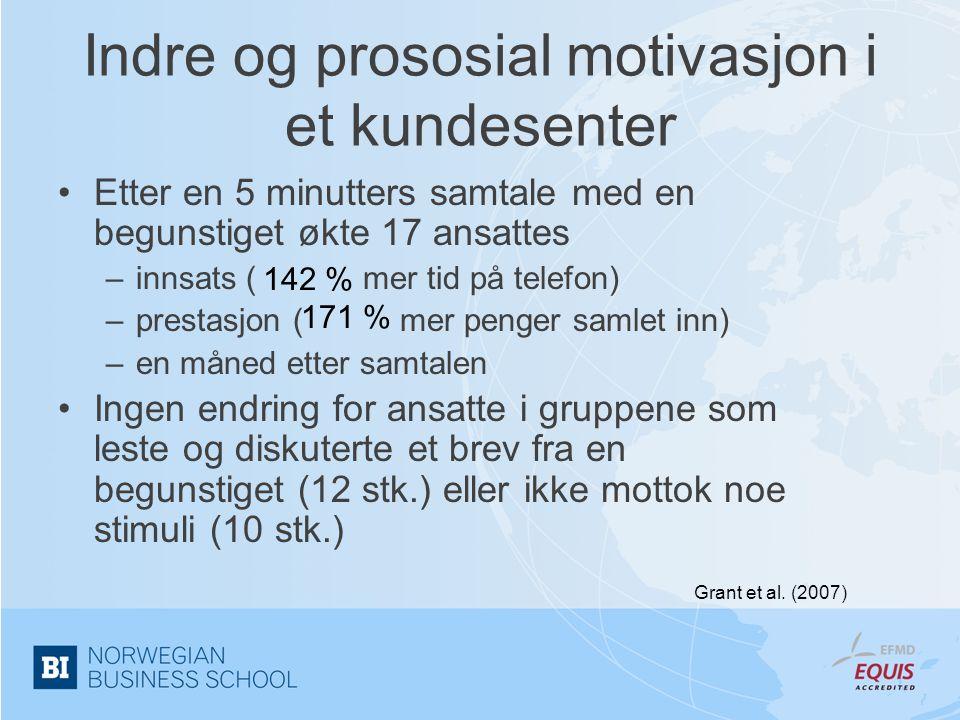 Indre og prososial motivasjon i et kundesenter