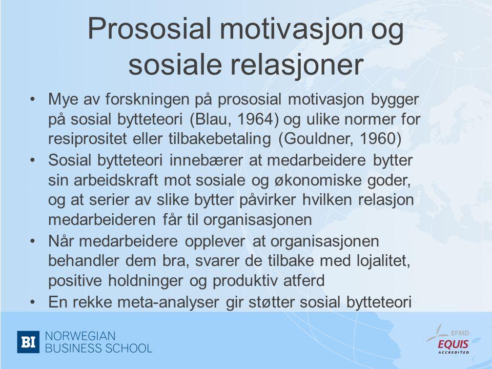 Prososial motivasjon og sosiale relasjoner