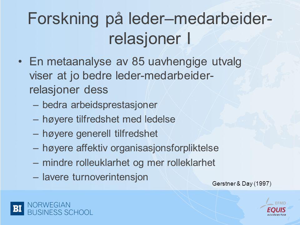 Forskning på leder–medarbeider-relasjoner I
