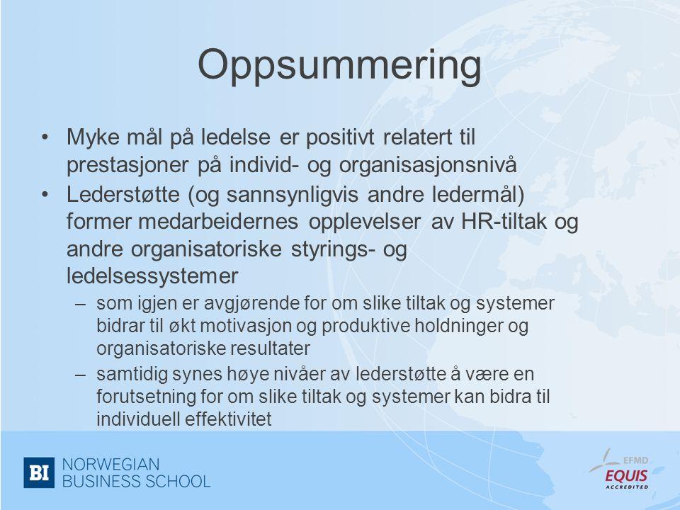Oppsummering Myke mål på ledelse er positivt relatert til prestasjoner på individ- og organisasjonsnivå.
