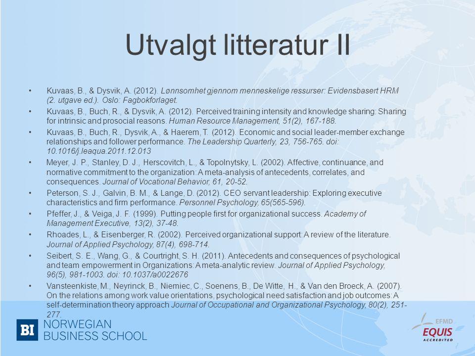 Utvalgt litteratur II