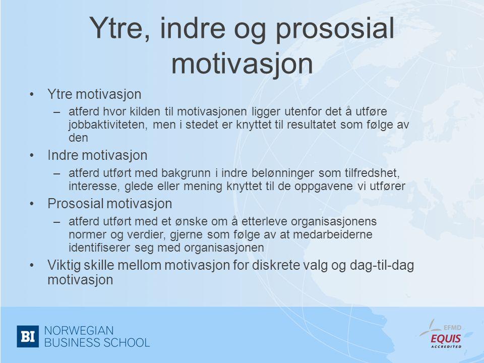 Ytre, indre og prososial motivasjon