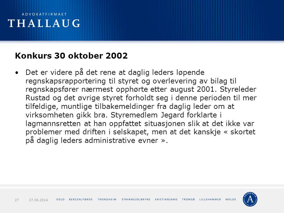 Konkurs 30 oktober 2002