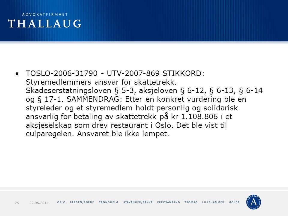TOSLO-2006-31790 - UTV-2007-869 STIKKORD: Styremedlemmers ansvar for skattetrekk. Skadeserstatningsloven § 5-3, aksjeloven § 6-12, § 6-13, § 6-14 og § 17-1. SAMMENDRAG: Etter en konkret vurdering ble en styreleder og et styremedlem holdt personlig og solidarisk ansvarlig for betaling av skattetrekk på kr 1.108.806 i et aksjeselskap som drev restaurant i Oslo. Det ble vist til culparegelen. Ansvaret ble ikke lempet.