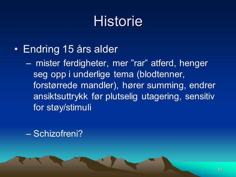 Historie Endring 15 års alder