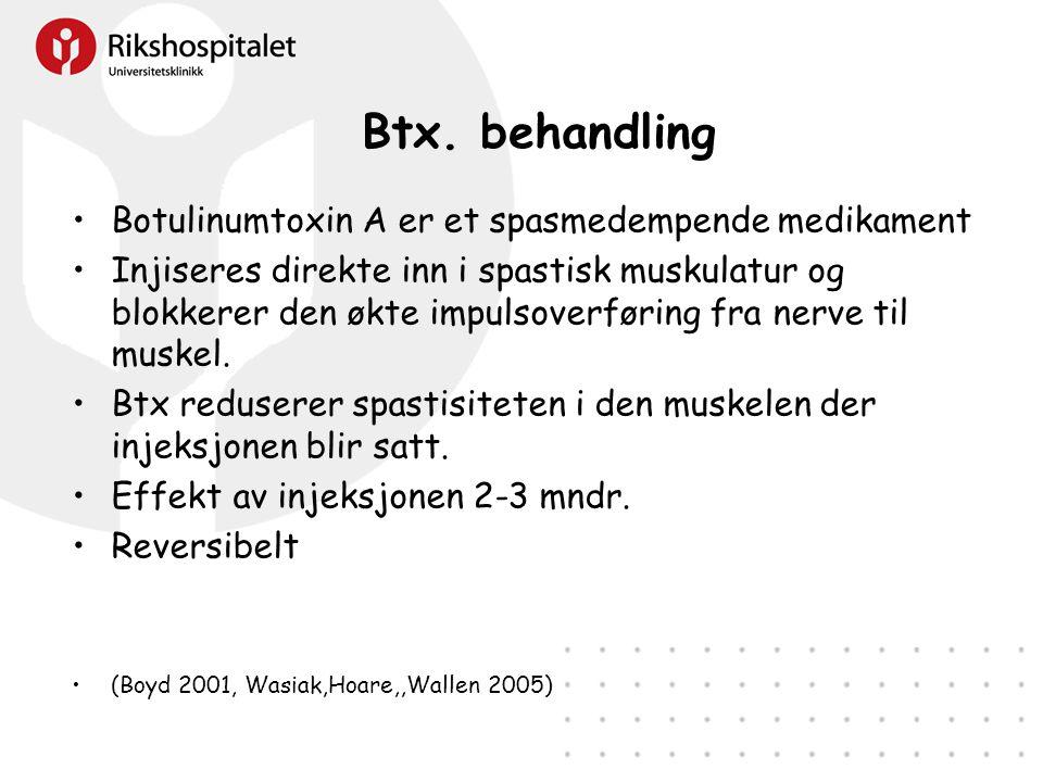 Btx. behandling Botulinumtoxin A er et spasmedempende medikament