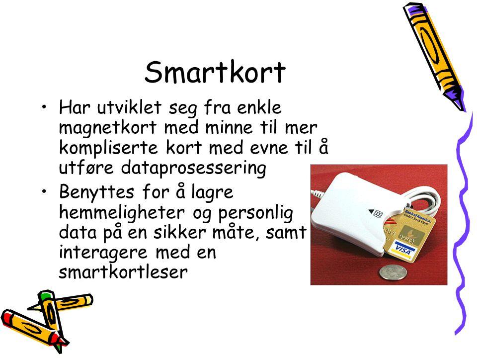 Smartkort Har utviklet seg fra enkle magnetkort med minne til mer kompliserte kort med evne til å utføre dataprosessering.