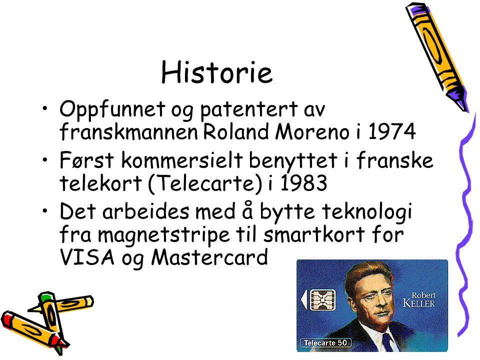 Historie Oppfunnet og patentert av franskmannen Roland Moreno i 1974
