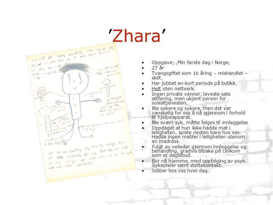 'Zhara' Oppgave; ,Min første dag i Norge, 27 år