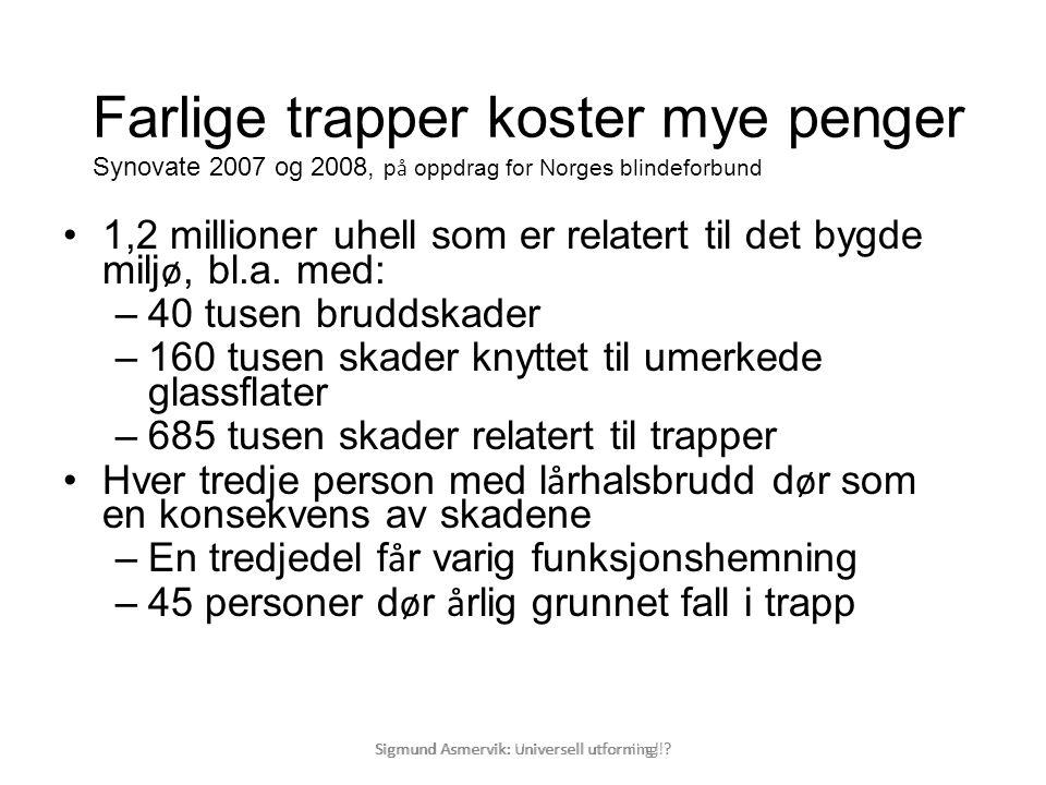 Farlige trapper koster mye penger Synovate 2007 og 2008, på oppdrag for Norges blindeforbund
