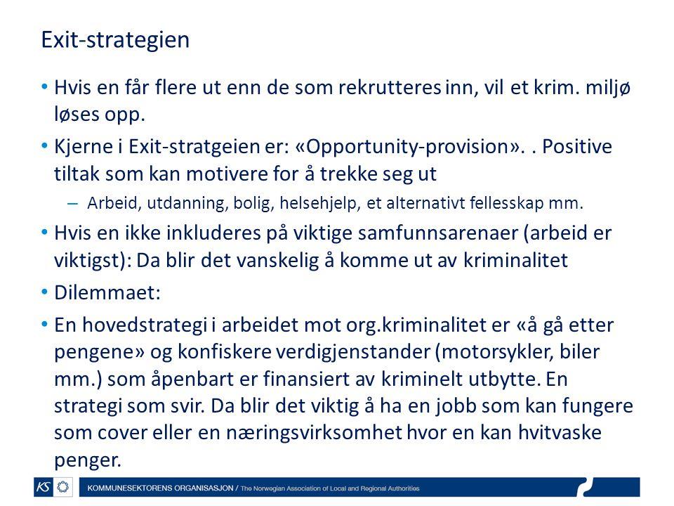 Exit-strategien Hvis en får flere ut enn de som rekrutteres inn, vil et krim. miljø løses opp.