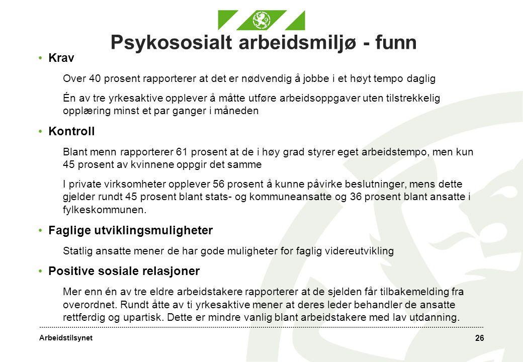 Psykososialt arbeidsmiljø - funn