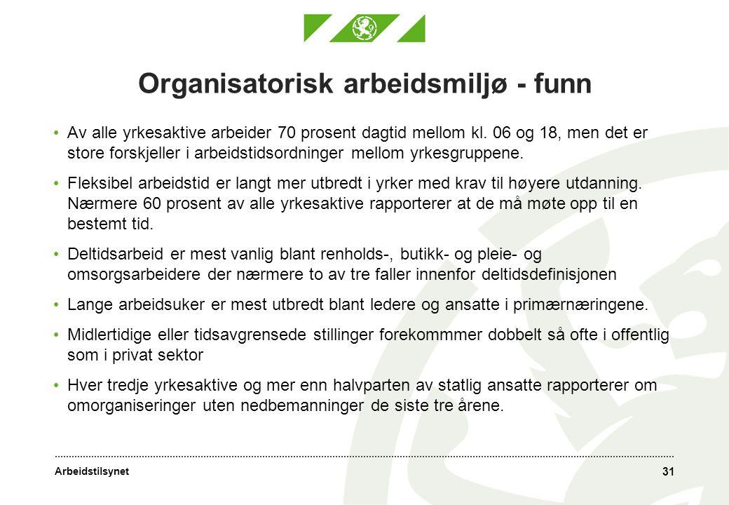 Organisatorisk arbeidsmiljø - funn