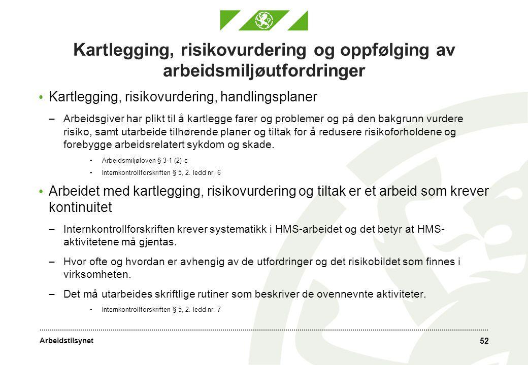 Kartlegging, risikovurdering og oppfølging av arbeidsmiljøutfordringer