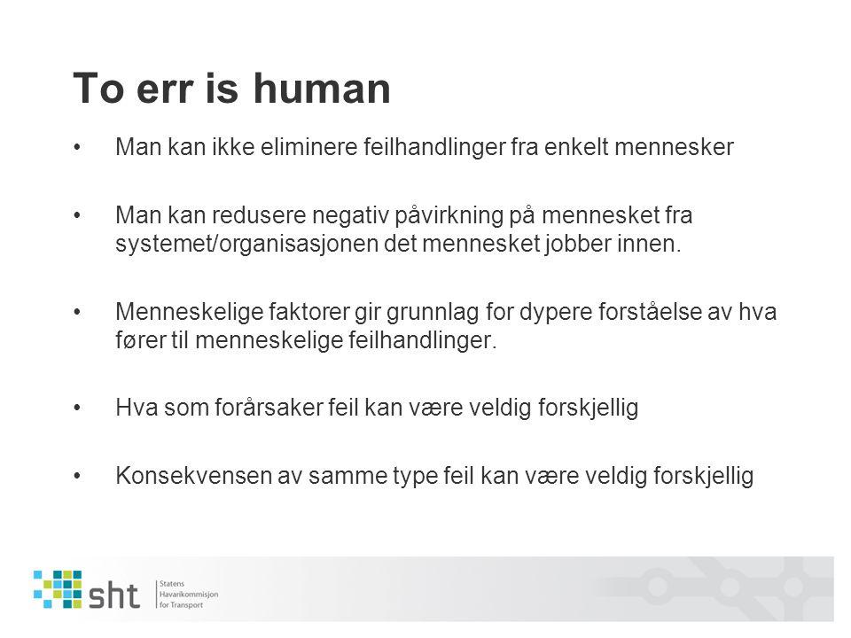 To err is human Man kan ikke eliminere feilhandlinger fra enkelt mennesker.