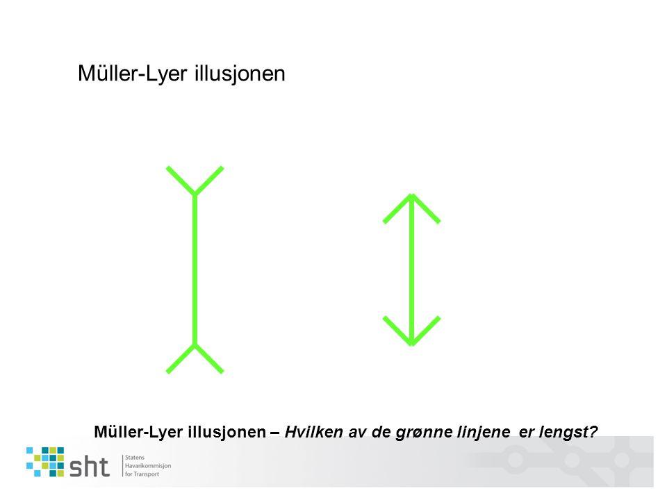 Müller-Lyer illusjonen – Hvilken av de grønne linjene er lengst