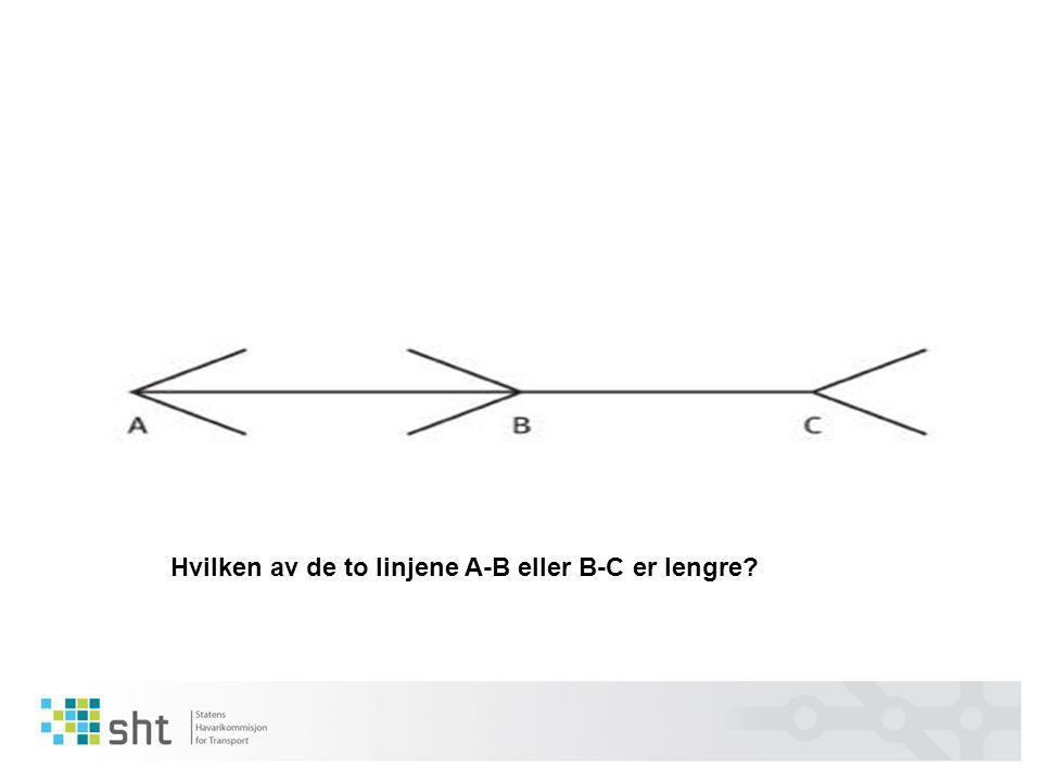 Hvilken av de to linjene A-B eller B-C er lengre